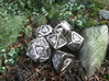 Tengwar Elvish D12 3d printed Complete Set Printed in Polished Nickel Steel