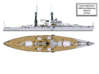 1/350 1919 US Small Battleship Design A7 Stern Wat 3d printed