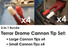Terror Drome Cannon Tips (Small and Large, 4 each) 3d printed  NOTE: The small cannon tip's length has been corrected, this version was slightly too long.