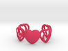 Heart Cage Bracelet (5 large Hearts, one solid) 3d printed