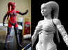 FB01-Preset-10  7inch 3d printed Finished Figure on the left, Printed in Red Strong & Flexible Polished and painted with Acrylics.