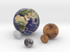 "Earth Moon Mars to scale. 50mm / 2"" globe 3d printed"