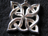 4 Clover Knot - Pendant 3d printed Front view. Actual Product Image. Shown in polished silver.