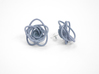 Sprouted Spirals Earrings (Studs) 3d printed Custom Dyed Color (Azurite)