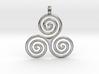 TRIPLE SPIRAL Symbolic Jewelry Pendant 3d printed