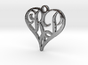 Heart pendant necklace with initials R & P 3d printed