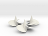 Three ship propellers f. Bismarck/Tirpitz 1/200 V2 3d printed