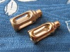 Tritium Pendant 2 (3x11mm Vials) 3d printed A comparison, between the raw and polished finishes, in bronze (only one lantern body is supplied per order)