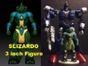 Slizardo homage Komodo 3inch Transformers Mini Fig 3d printed 3inch Slizardo printed in Full Color Sandstone with custom painted Generations Deluxe Scourge body. Scourge figure sold separately.