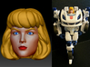 Carly Homage Exosuit Head For TF FOC JAZZ 3d printed JAZZ body is fully transformable with head attached. Carly head printed in Full Color Sandstone on Generations Deluxe Class FOC Jazz