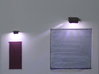 HO Exterior Light Fixtures & Cameras 3d printed Lights on!  Notice the pattern cast by the diffuser
