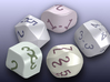 set of dice with convex faces (card digits) 3d printed