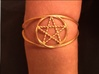 Woven Pentacle cuff/armband 3d printed How the woven pentacle armband looks. The material is polished gold steel.