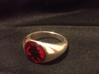 Itachi Ring 3d printed polished silver ring with painted symbol and red resin fill.