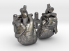Anatomical Heart Cufflinks Pair (Front and Back) 3d printed