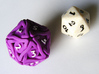 'Twined' Dice D20 MTG Spindown Life Counter Die 32 3d printed Another size comparison shot, this time with colored numbers