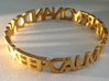 KEEP CALM AND CARRY ON AND ON AND bangle 3d printed Polished Gold Steel