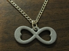 Two Hearts Infinity Symbol (small) 3d printed Polished Alumide test piece.