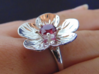 Manuka ring 3d printed Manuka ring in sterling silver set with ruby