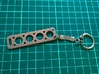 V8 Engine Head Gasket Key Chain 3d printed Key Chain showing small key ring mount