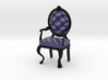 1:24 Half Inch Scale NavyBlack Louis XVI Chair 3d printed