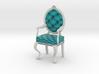1:48 Quarter Scale TealWhite Louis XVI Chair 3d printed
