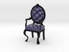 1:48 Quarter Scale NavyBlack Louis XVI Chair 3d printed