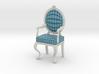 1:12 Scale Acid Blue Plaid/White Louis XVI Chair 3d printed