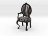 1:12 Scale Zebra/Black Louis XVI Chair 3d printed