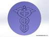 Caduceus Wax Seal (Doctor's Staff) 3d printed Rendering of the wax impression viewed from above