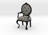 1:12 Scale Black Damask/Black Louis XVI Chair 3d printed