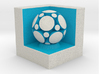 LuminOrb 1.8 - Cube Stand 3d printed Shapeways render of Cube Display Stand with MINDFULNESS in Full Color Sandstone