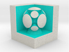 LuminOrb 2.5 - Cube Stand 3d printed Shapeways render of Cube Display Stand with HARMONY in Full Color Sandstone