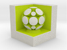 LuminOrb 2.7 - Cube Stand 3d printed Shapeways render of Cube Display Stand with GRATITUDE in Full Color Sandstone